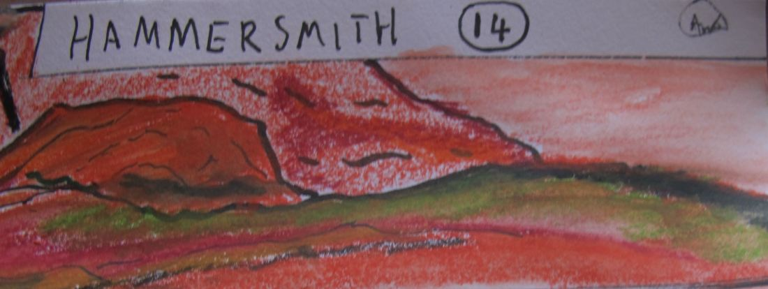 Hammersmith. Chapter 14. Panel 2. Elysium Mons - Shadow Plains. A mountain in the shadow of Elysium Mons with further smaller ranges below. The smaller rages are coloured with a slight green hue as if covered by grass.